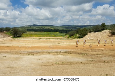 Outdoor shooting range, IDF army soldiers training zone, targets, nature background, Middle East, Israel
