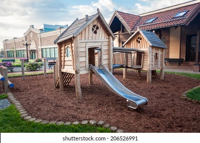 Outdoor shot of big wooden playground at shopping mall