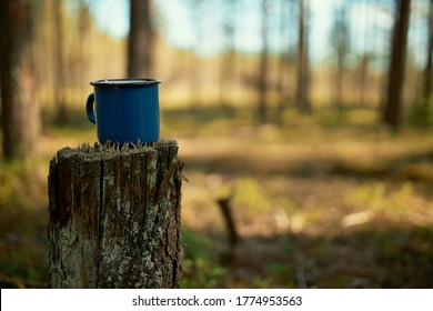 Outdoor shot of dark blue enameled cup of coffee placed on stump in autumn forest. Mug with tea on stub in summer wood. Nature, hiking, camping and travel equipment concept. Nobody around