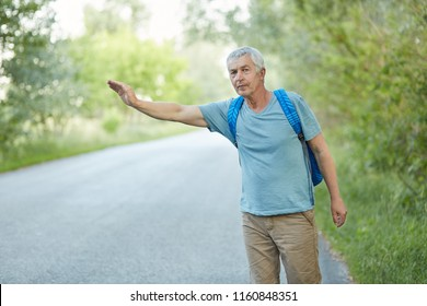 Outdoor shot of grey haired senior man in casual t shirt, has vacation trip, hitchhikes on road in countryside, has rucksack on back. Travelling, tourism and hitchhiking concept. Pick me up.
