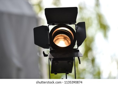 Outdoor shot with a professional lighting projector