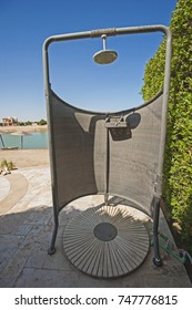 Outdoor shower cubicle at tropical luxury holiday villa resort