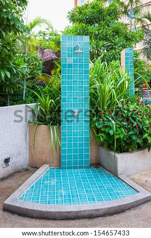Outdoor Shower Swimming Pool Stock Photo (Edit Now) 154657433 ...