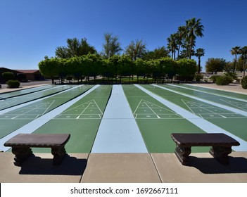 Outdoor Shuffleboard Court With Resting Benches