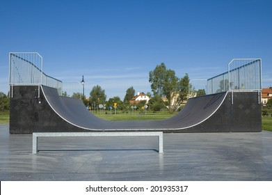 Outdoor skatepark with various ramps