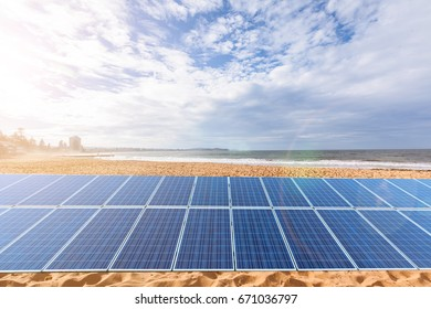 Outdoor solar panels, background and material use