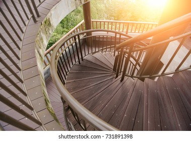Outdoor spiral wooden staircase