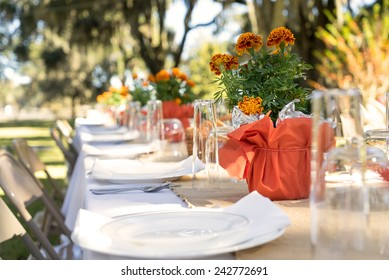 Outdoor spring or summer casual garden party set up for lunch dinner with long table folding chairs marigold flowers plastic disposable plates and white tablecloth