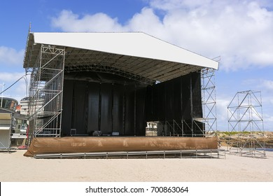 outdoor stage for concert in beach