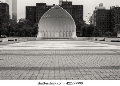 Outdoor stage at Lincoln Center in black and white
