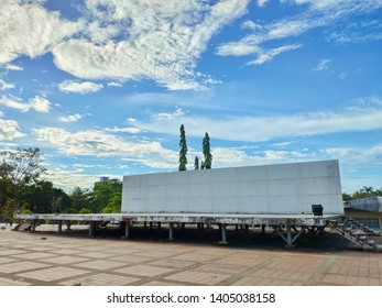 Outdoor stage show and blue sky with cloud