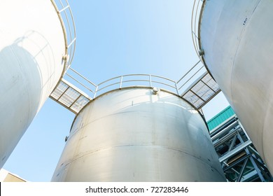 Outdoor steel bulk storage tanks in blue sky background, for industrial and factory