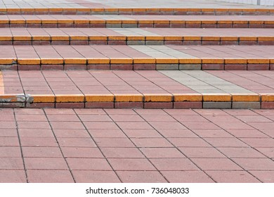 Outdoor steps with tiles pavement