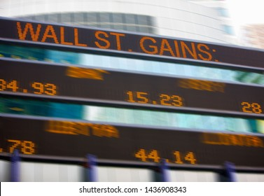 Outdoor stock ticker and financial information.