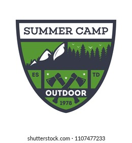 Outdoor summer camp vintage isolated badge. Mountaineering symbol, forest explorer sign, touristic camping label, nature recreation illustration.