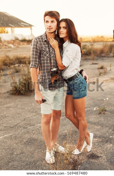 Outdoor Summer Portrait Fashion Casual Couple Stock Photo Edit Now 169487480