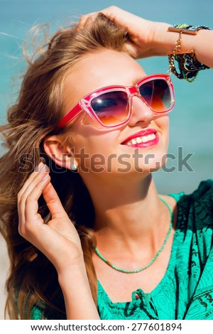 1eff155a12 Outdoor summer portrait of pretty young blonde beautiful woman in cool sunglasses  posing on the sunny