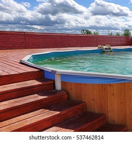 Outdoor Summer PVC Adult Above Ground Frame Swimming Pool With Wooden Patio Deck Flooring