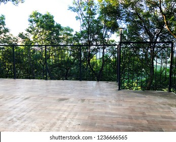 Outdoor in summer residence. Beautiful view from the balcony.