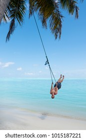 Outdoor summer vacation tropic palm style portrait of young strong man on beach swing blue water and sky. Single man alone while swinging on the beach at Maldives Island Indian ocean vacation holidays