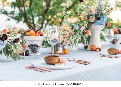 outdoor summer wedding centerpieces with fruit, vineyard and farm inspired wedding