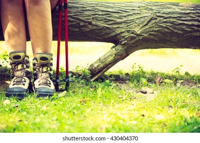 Outdoor survival sport leisure relax concept. Person travelling on dirt road. Young hiker during trip.