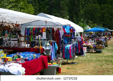 Outdoor Swap Meet with Colorful Tye-Dye Shirts