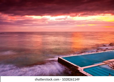 Outdoor swimming pool at Bondi Beach, Sydney, Australia.