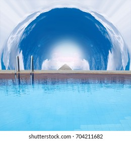 Outdoor swimming pool in tunnel cloud and staircase from heaven