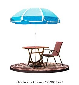 Outdoor table and chair with garden parasol sunshade at coffee shop isolated on white background with clipping path