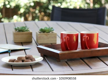Outdoor table setting with cookies, two coffee cups, book, flowers