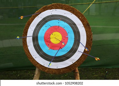 An outdoor target for shooting with a bow and arrows on a summer day on the streets of Riga, Latvia