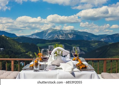 Outdoor terrace  with lunch in mountains. Semmering.