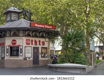 Outdoor theatre ticket booth in Leicester Square on a sunny day. London - 12th September 2020