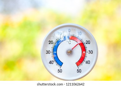 Outdoor thermometer  with celsius scale showing moderate  temperature 16 degree - fresh weather concept