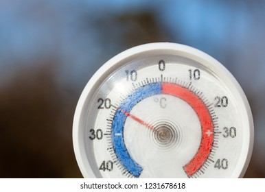 Outdoor thermometer  with celsius scale showing severe freezing temperature cold winter weather concept