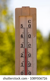 An outdoor thermometer that displays a temperature of almost 30 degrees Celsius in Finland. There is a hot summer day.