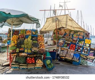An outdoor vegetables store in the island of Aegina (Egina), Greece.