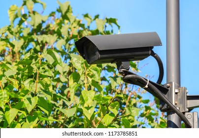 outdoor video surveillance cameras (cctv) watching what is happening on the perimeter of a private area