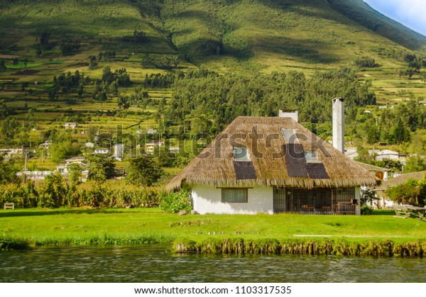 Outdoor view of typical house in Imbabura in the lakeshore of the Lake San Pablo in northern Ecuador