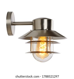 Outdoor Wall Sconce Light Isolated on White. Rustik Facade Lighting Fixtures. Modern Electric Light Fixture with Led Bulb. Exterior Electrical Decoration Lights. Chandelier Lighting Front Side View