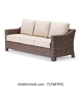 Outdoor Weave Sofa Isolated On White Background. Side View Of Patio Wicker  Dining Sofa With