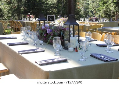 Outdoor wedding reception table set up