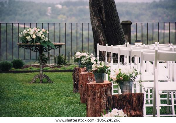 Outdoor Wedding Venue Decoration Flowers White Stock Photo