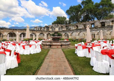 Outdoor wedding venue in ruins. Santa Clara temple and convent, Antigua Guatemala