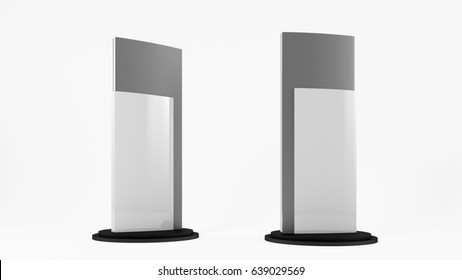 Outdoor White Metal Advertising Stand On White Background, 3d illustration