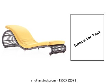 Outdoor Wicker Pool Chaise Lounge Chair Isolated. Rattan Sun Lounger. Pool Recliners. Patio and Outdoor Furniture. Side View Garden Wicker Reclining Chairs. Beach Long Chair with Brown Soft Cushions