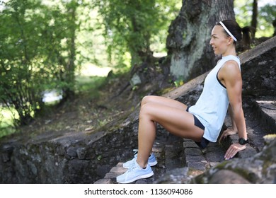 Outdoor workout. Exercise in the park