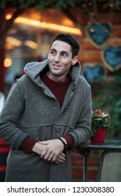 Outdoor Young man Winter Portrait walking in the city