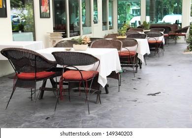 Outdoor zone of restaurant
